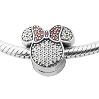 Fits for Pandora Bracelet Mouse Ears Charms with Red Clear Cubic Zirconia 100% 925 Sterling Silver Beads Free Shipping