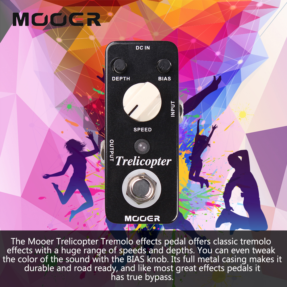 Mooer Trelicopter Classic Optical Tremolo Sound Guitar Effect Pedal With Huge Range Speeds/Depths