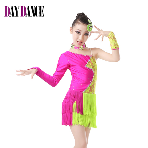 Free Shipping New Child Girls Kids Sexy Competition Ballroom Tango Samba Salsa Latin Fringe Dress