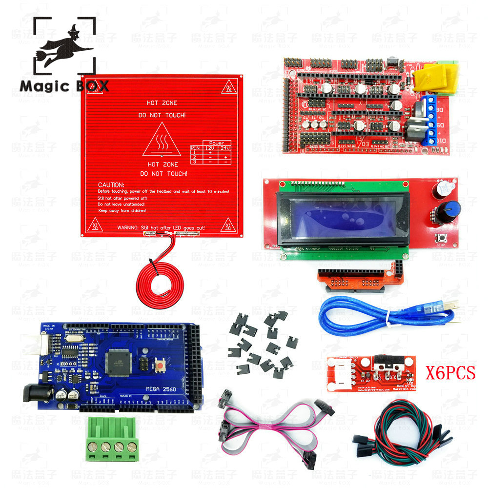 CNC 3D Printer parts Kit Heated Bed MK2B + RAMPS 1.4 Controller + LCD 2004 + 6x Mechanical Limit Switch Endstop+Mega 2560 R3 цена