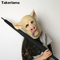 Takerlama Hot Game H1Z1: Kill of the King Cigar Pig Mask Full Head Latex Cosplay Halloween Party Pig Mask
