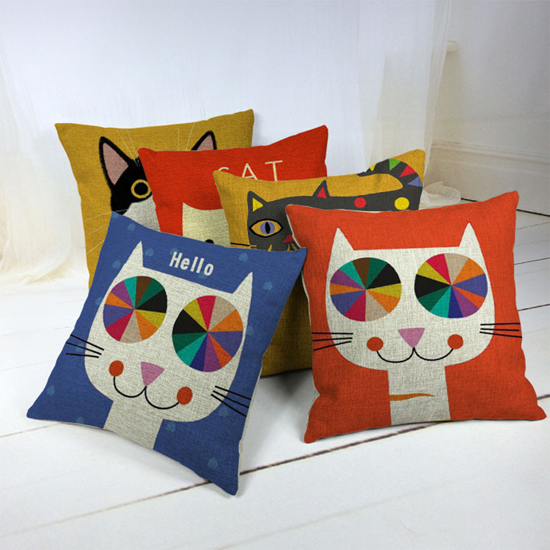 Square Pillowcase Cushion Cover Pillowcase Colorful Cat Pillow Case For Home Decor F