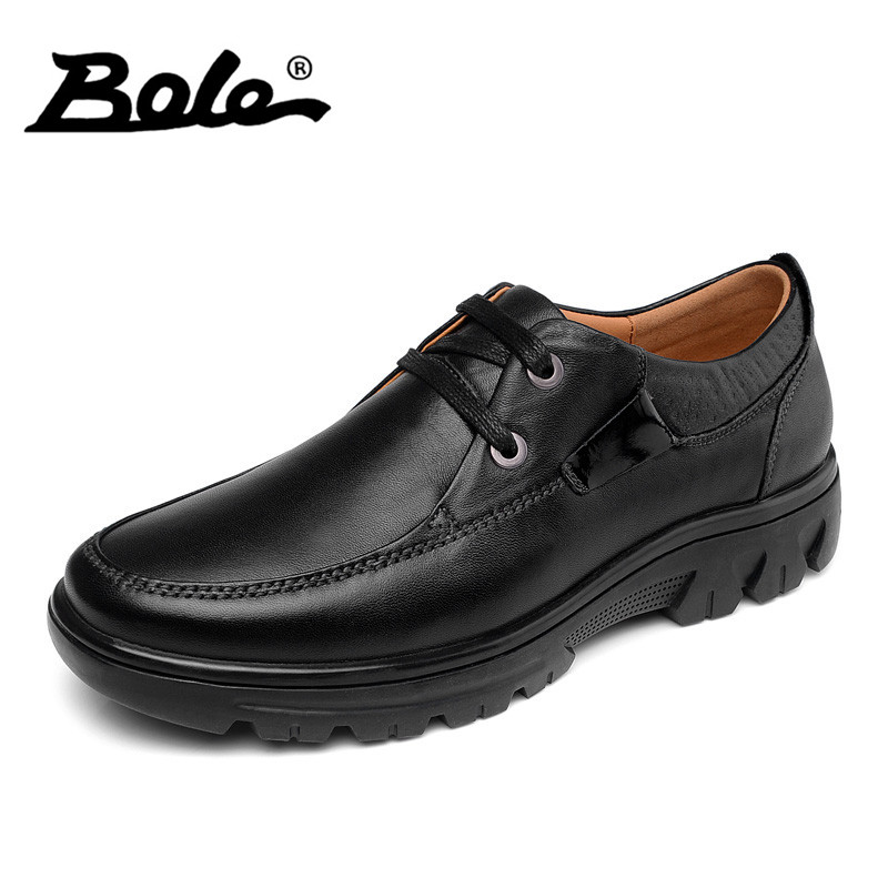 BOLE Genuine Leather Men Business Casual Shoes 37-46 Large Size Handmade Moccasins Shoes Men High-quality Lace Up Shoes Men Flat genuine leather men casual shoes wool fur warm winter shoes for men flat lace up casual shoes men s flat with shoes fashion