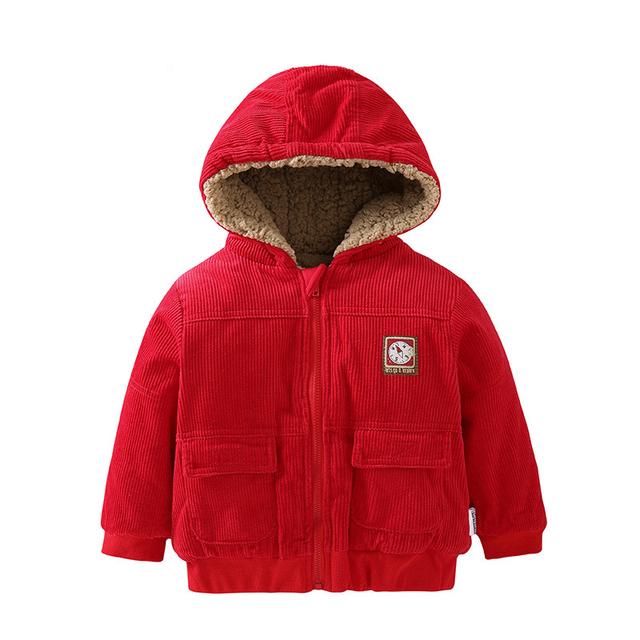 Niña abrigos y chaquetas de los nuevos de invierno gruesa capucha de lana bebé clothing babyboy caliente chaqueta de pana chaqueta de punto infantil