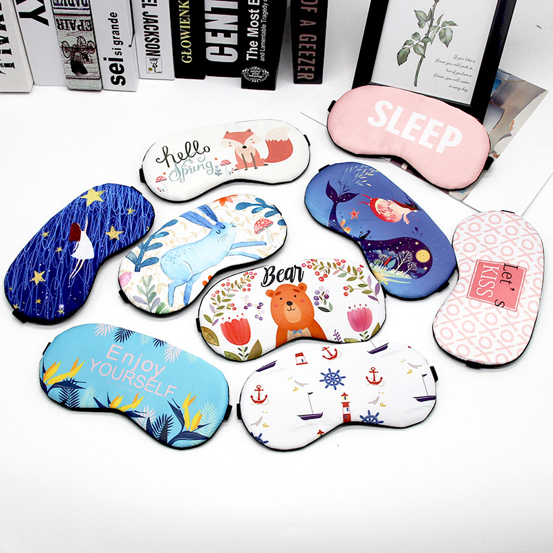 Cute Cotton Cartoon Eye Cover Sleeping Mask Creative Funny Eyepatch Sleep Mask Travel Relax Eye Band Sleeping Aid Kids Blindfold(China)