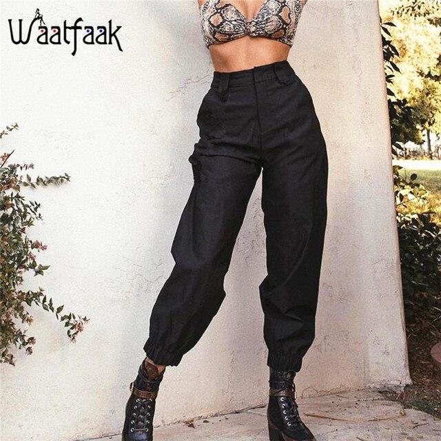 5d2c6a7d3e Waatfaak Casual alta cintura pantalones Harem negro bolsillos elástico  sólido de pantalones las mujeres Basic Skinny