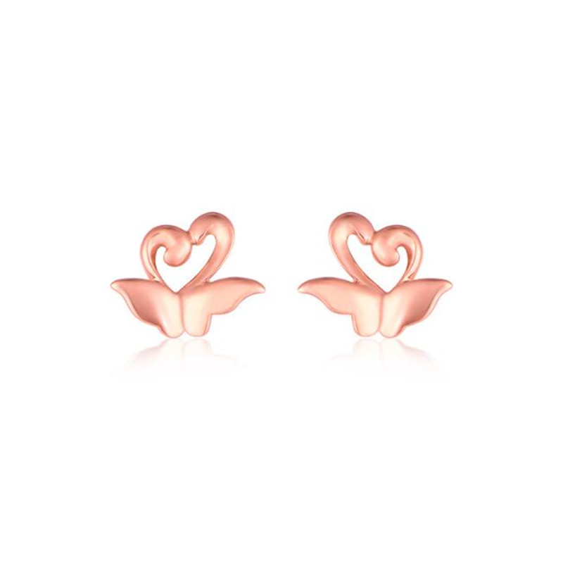 Fine Animal Jewelry High Quality 18K Gold Double Swan Stud Earrings For Women Classic Style Heart Pendientes Femme Bijoux 0.49g
