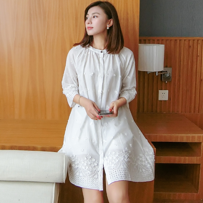 High Quality Autumn nightdress Sexy   nightgowns   New women   sleepshirts   100% cotton fresh simple Women Sleepwear Free Shipping