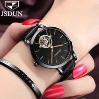 Original Watch JSDUN Switzerland Brand Tourbillon Automatic Watches Waterproof Ladies Mechanical Watch Black Leather Women Clock