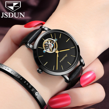 fe8a410e007a Original reloj JSDUN marca suiza Tourbillon automático relojes damas  impermeable reloj mecánico de cuero negro mujeres reloj