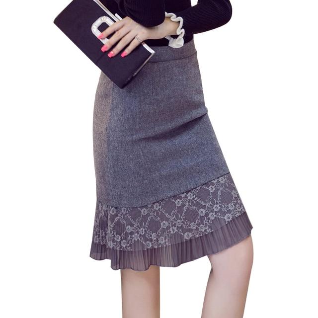 Women Winter Skirts 2016 Fashion Lace Patchwork Women Pencil Woolen Skirt High Waist Ruffle Hem Plus Size Skirt For Women S2194