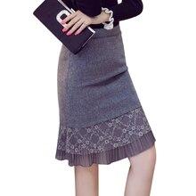 Women Winter Skirts 2017 Fashion Lace Patchwork Women Pencil Woolen Skirt High Waist Ruffle Hem Big