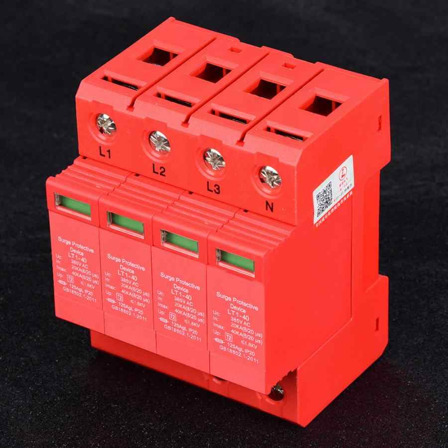 4P 40/80KA 385V House Surge Protector Low-voltage Arrester Device 20A Rail Mounting 4P40KA/4P80KA Fireproof