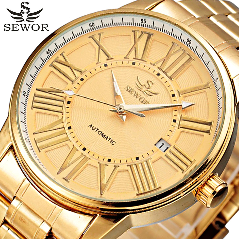 SEWOR Gold Full Stainless Steel Automatic Mechanical Watch Men Auto Date Designer Mens Watches Clock Male Relogio Masculino splendid hcandice mens sports watches men s fashion mechanical stainless steel watch gold relogio masculino clock hombre