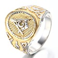 Cool Freemason Mens Boys Gold Silver 316L Stainless Steel Free Mason Masonic Ring US Size 7-15