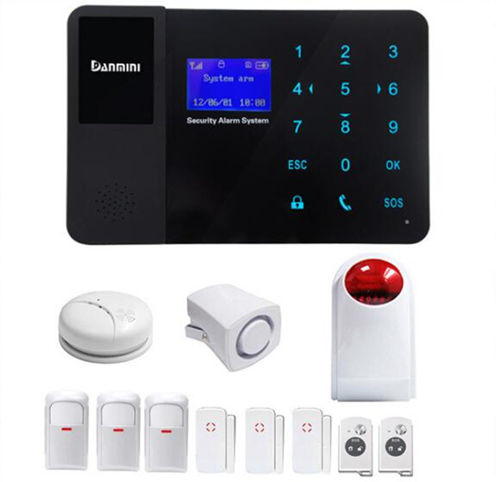 GSM Alarm System With Smoke Sensor 3 PIR Detector 3 Door Contact 1 Strobe Siren