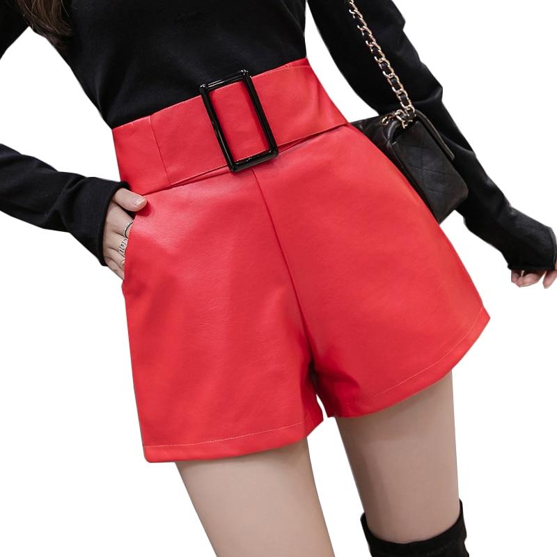 Women black PU leather   shorts   belted pockets high waist   short   femme ladies wide leg pantalones cortos korean autumn winter   short