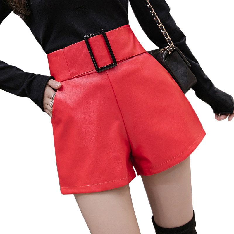 Women Black PU Leather Shorts Belted Pocket High Waist Short Femme Ladies Wide Leg Pantalones Cortos Korean Autumn Winter Shorts