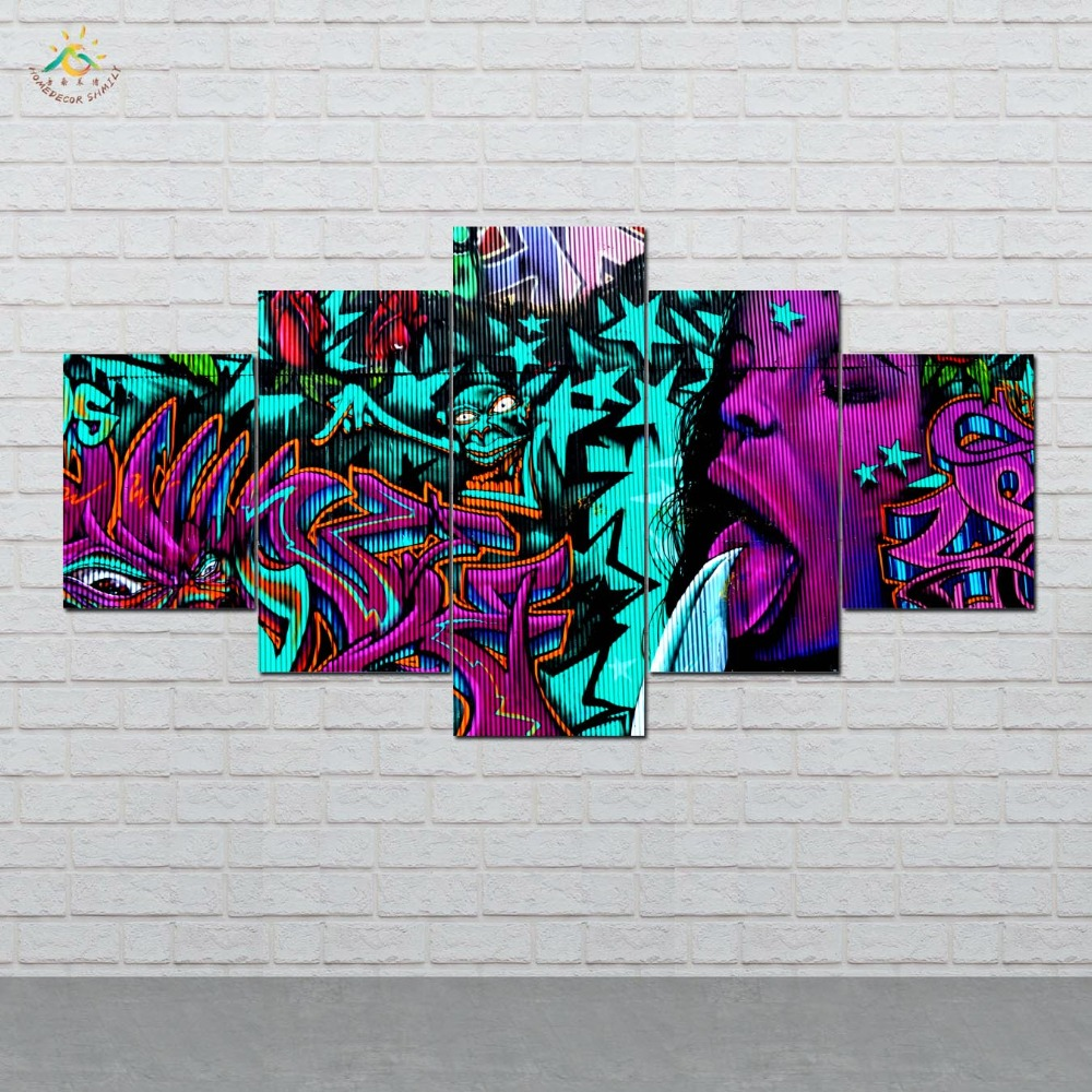 Abstract graffiti art wall art hd prints canvas art painting modular picture and poster canvas painting decoration home 5 pieces in painting calligraphy