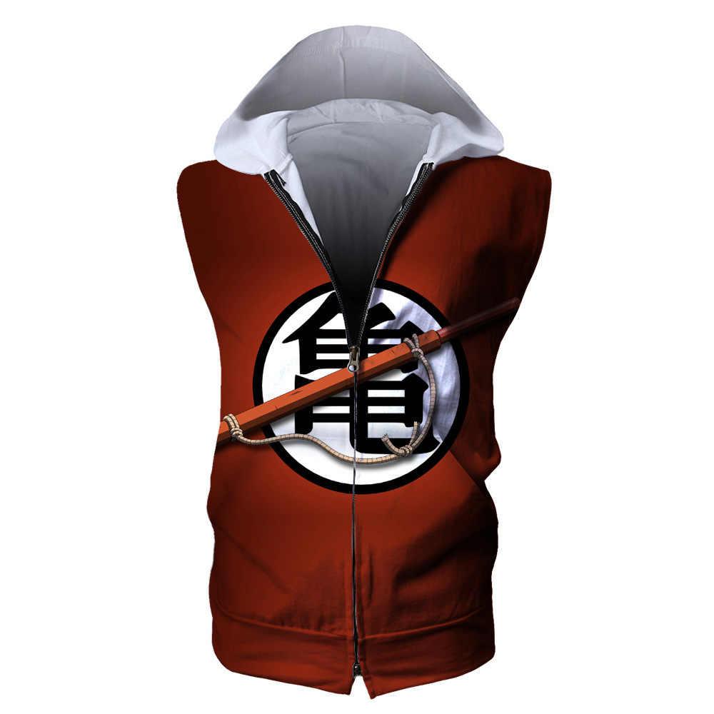 COYOUNG Marke Hip hop Ärmelloses Männer Hoodies T-shirt Anime Dragon Ball Goku 3D Digital Print Zipper Casual Mit Kapuze Tops T hemd