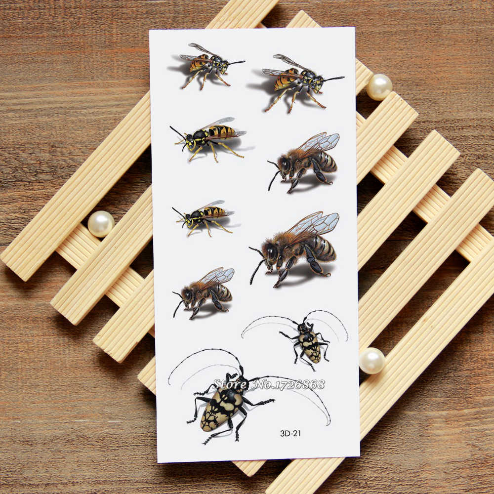 3D Honey Bee Palsu Tattoo Temporary Tattoo Body Art Tattoo Flash Stiker Decals Tahan Air Untuk Wanita Pria #021
