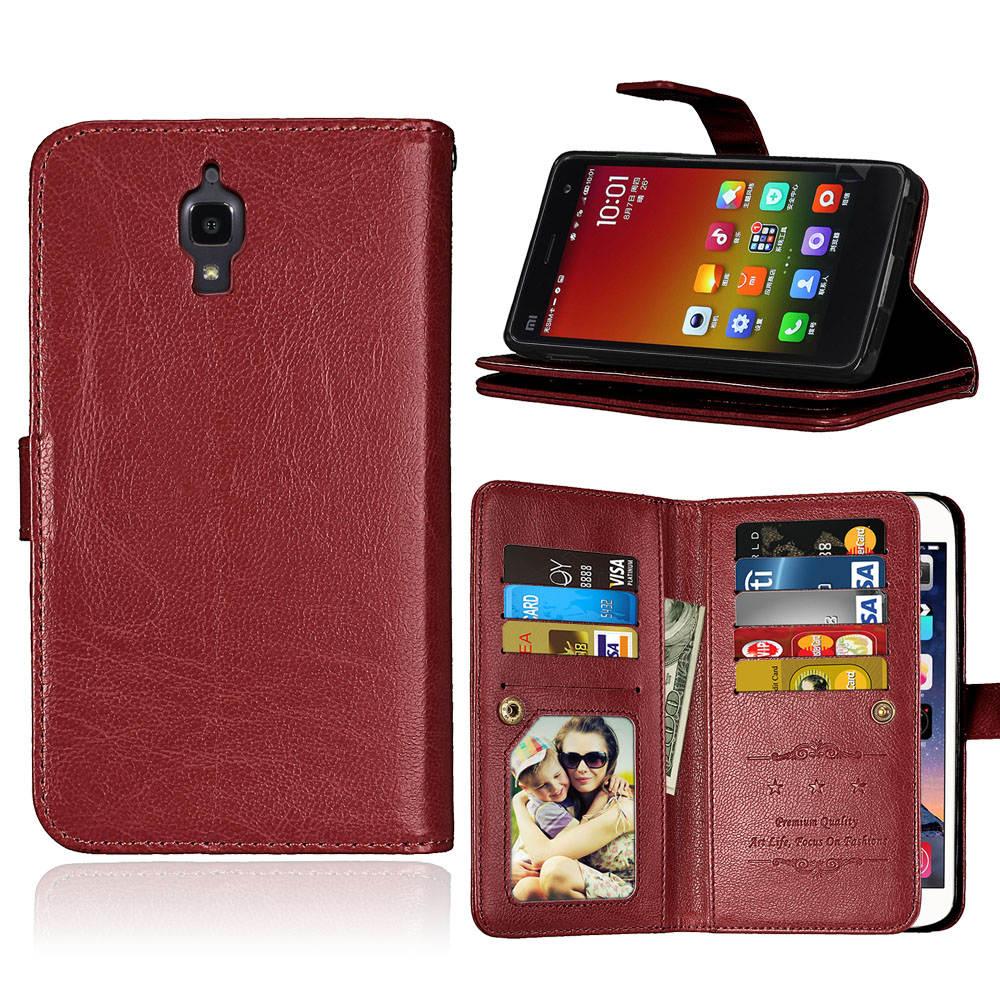 Coque Fundas 9 Card Holders Funda para Xiaomi Mi4 Mi 4 M4 Funda de - Accesorios y repuestos para celulares
