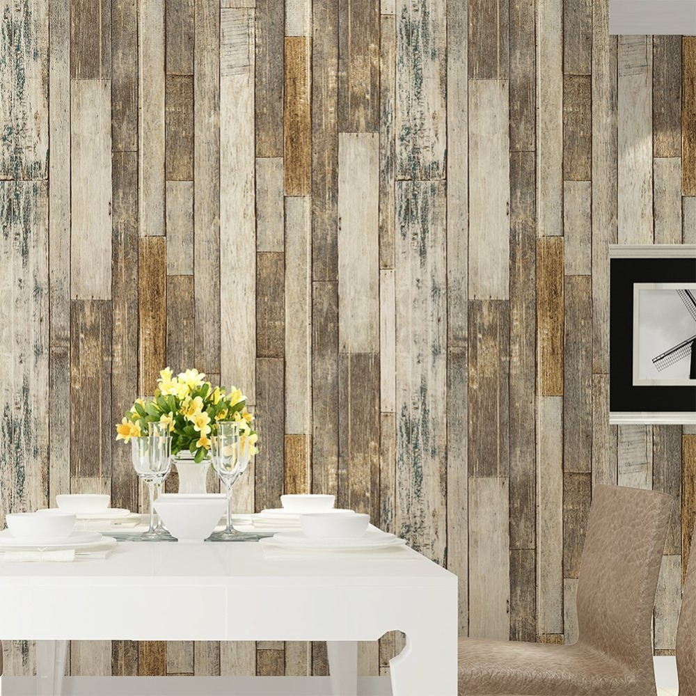 HaokHome Vintage Wood 3D Wallpaper Rolls Tan/Beige/Brown Wooden Plank Murals Home Living Room Kitchen Bathroom Photo Wall Paper home decoration 3d bathroom wallpaper retro nostalgic wood love wallpapers for living room 3d wall murals page 9