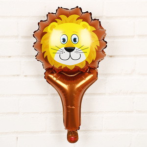 Image 3 - 6 sztuk balony foliowe z główką zwierzęcą safari, zoo ręczny nadmuchiwany balon powietrza Baby Shower dekoracje na przyjęcia urodzinowe prezenty dla dzieci