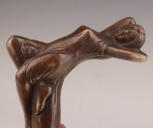 WALKING-STICK-CANE-HEAD-BRONZE-CASTING-WOMAN-STATUE-ACCESSORIES-COLLECTABLE WA(China)