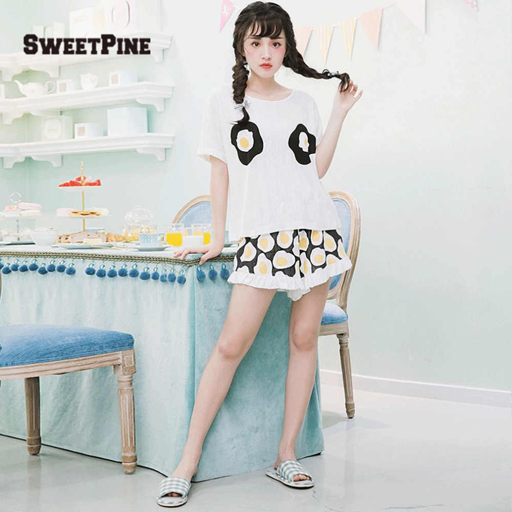 78cf1f55fd ... SWEETPINE Fried Eggs Printing Cotton Pajama Two-piece Set Short Sleeve  T-shirt ...