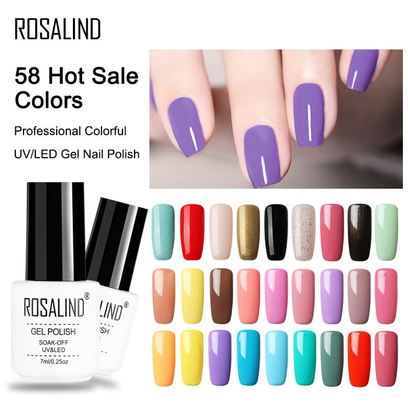 Rosalind 7 ml cores Puras gel verniz Semi Permanente UV de Longa Duração para nail art Gel unha polonês Necessidade LEVOU lâmpada gel laca