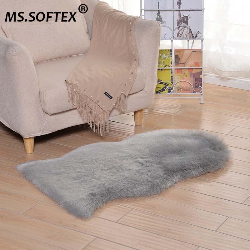 Ms.Softex Sheepskin Plush Artificial Fur Carpet Long Wool Carpet Soft Faux Fur Bedroom Floor Rug Washable