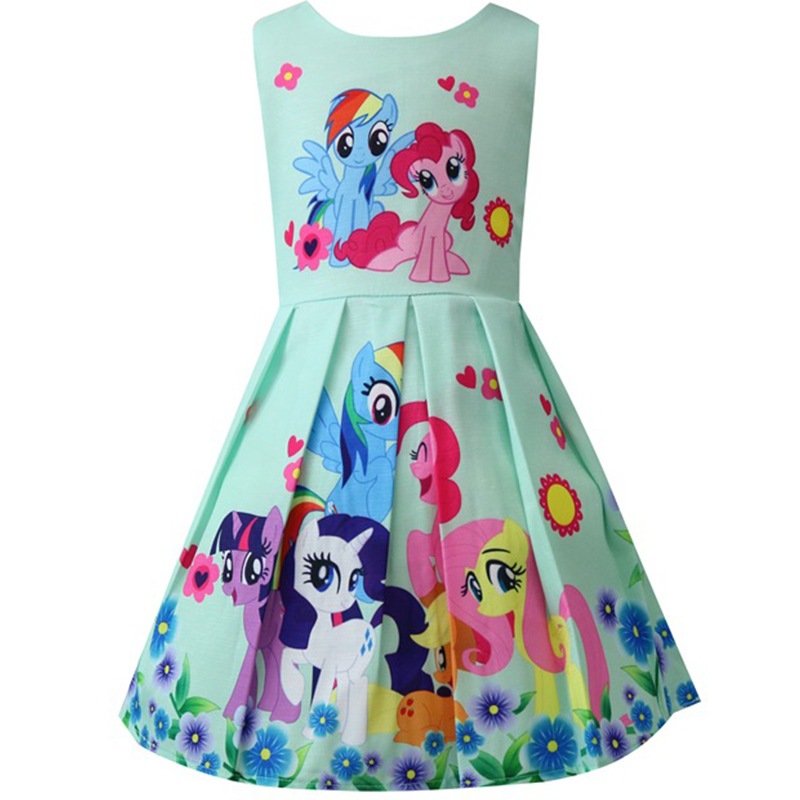 Kids Dresses For Girls My little Baby Children's Dresses Rainbow Dress Cute Pony Foal Princess Party Dress Cartoon Clothes 8Yrs summer my baby girl fashion cotton dress children clothing girls little pony dresses cartoon princess party costume kids clothes
