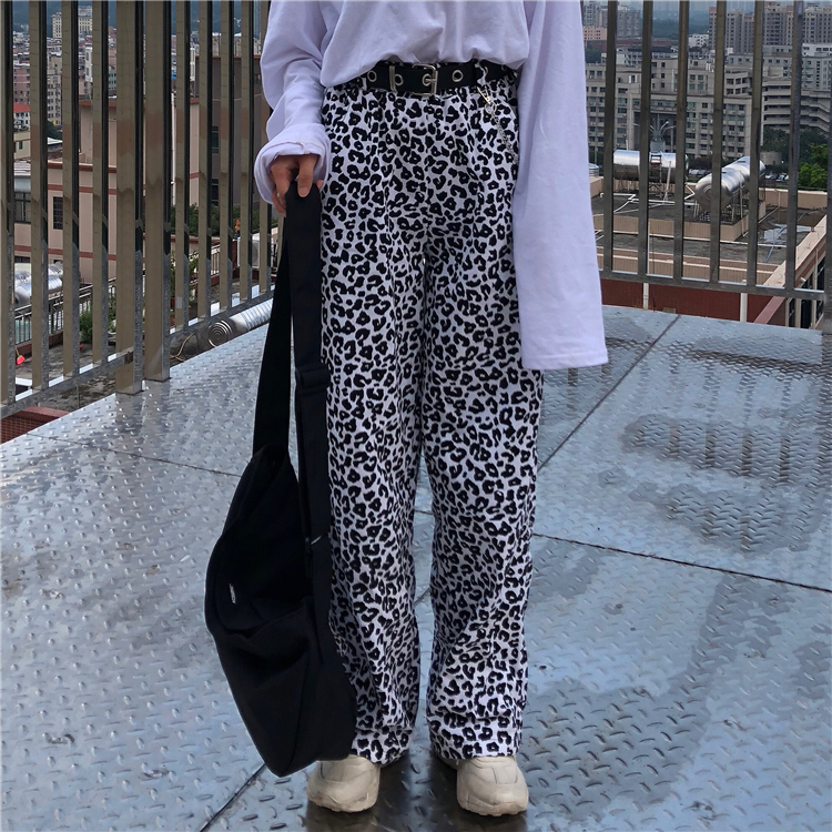 2019 Loose-Fit Animal Print Leopard Pants With Elastic Waist Women Hip Hop Pants Long Trousers Harajuku Streetwear