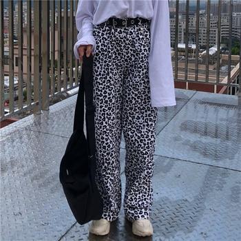 2020 Loose-Fit Animal Print Leopard Pants With Elastic Waist Women Hip Hop Pants Long Trousers Harajuku Streetwear animal pattern elastic waist trousers