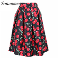 Samuume Fresh Style Cherry Print Pleat Midi Skirts Women 2017 Elastic High Waist Umbrella Circle Skater Skirt Female Saia Q14614