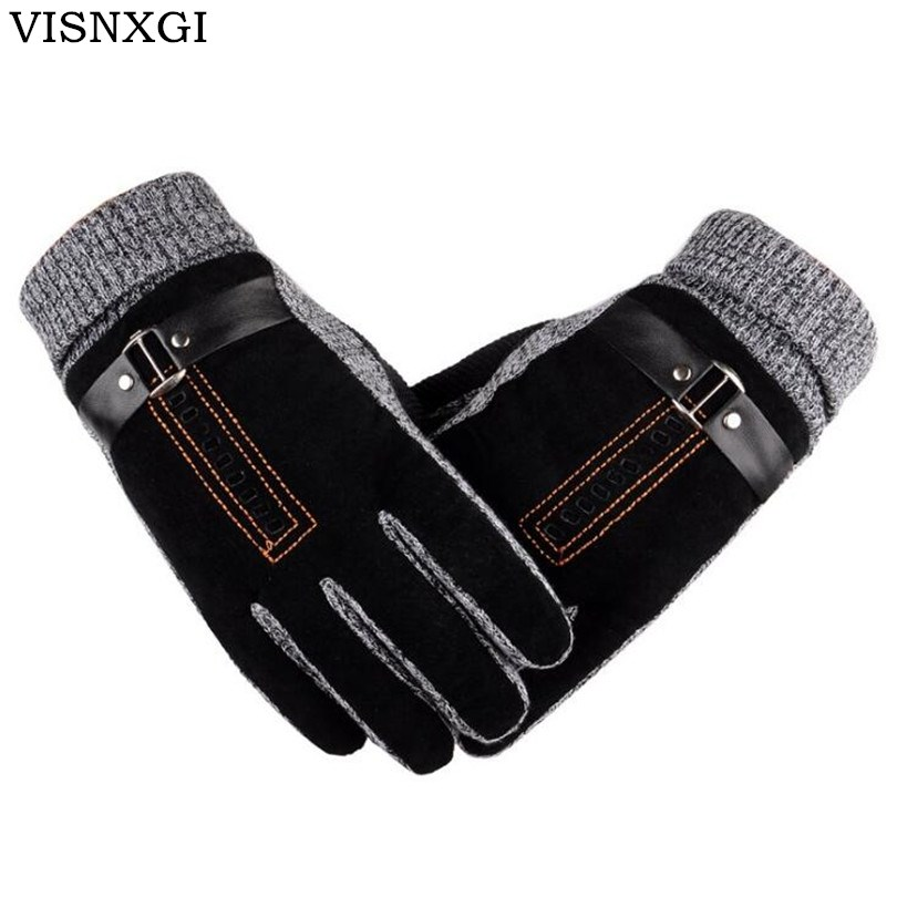 2018 neue Design Männer Winter Handschuhe Luxus Leder Guantes Moto PU Patchwork Starke Handschuhe Männlichen Motocicleta Thermische Warme Handschuhe