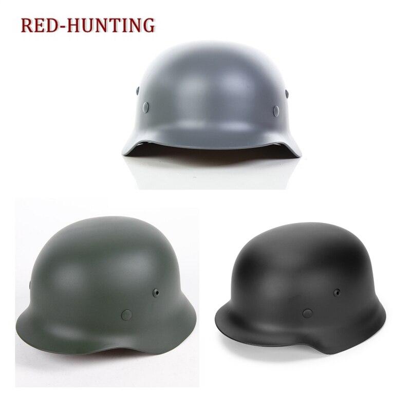 Высокое качество немецкий M35 шлем Стальной шлем черный зеленый серый тактический страйкбол шлем Военная специальная сила безопасности Обо...
