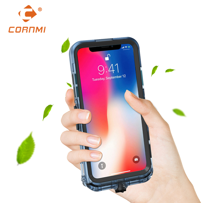 Original CORNMI Waterproof Phone Case For iPhone X Full Coverage Protective Cover Stand Holder PC TPE