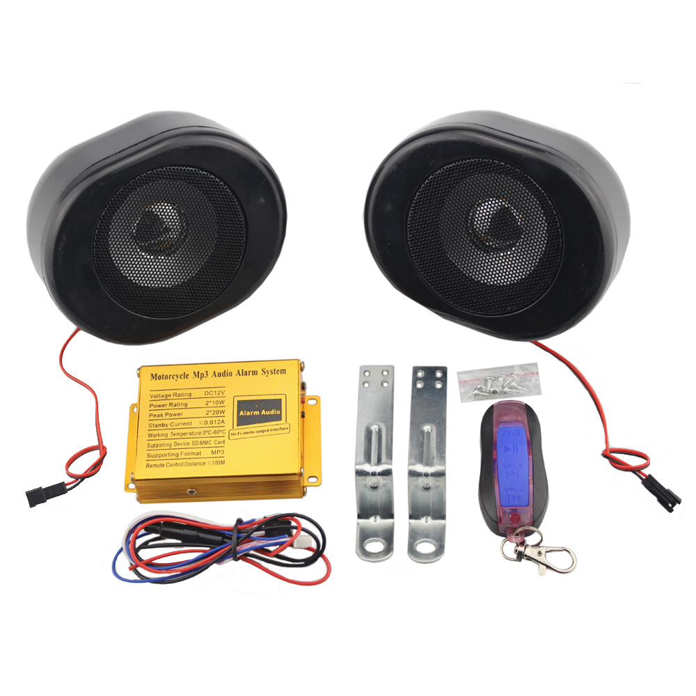 Black Motorcycle MP3 Speakers Alarm System Handlebar Stereo Audio FM Radio TF Card USB Music Player Anti-theft Security Alarm