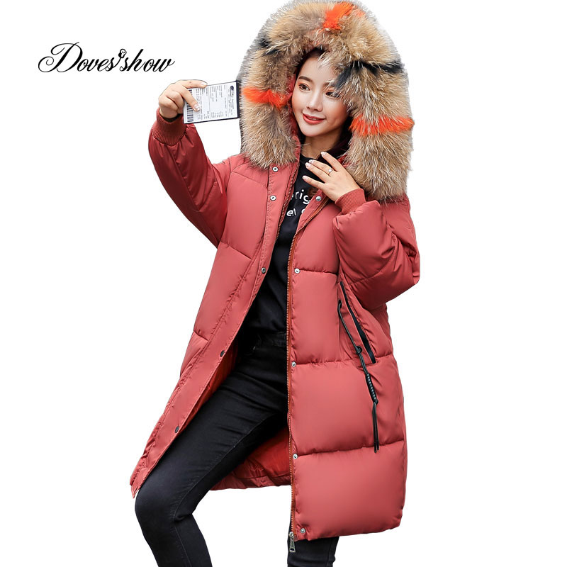 Hooded Elastic Fur Collar Winter   Down     Coat   Jacket Thick Warm Slim Women Casaco Feminino Abrigos Mujer Invierno 2018 Parkas 601