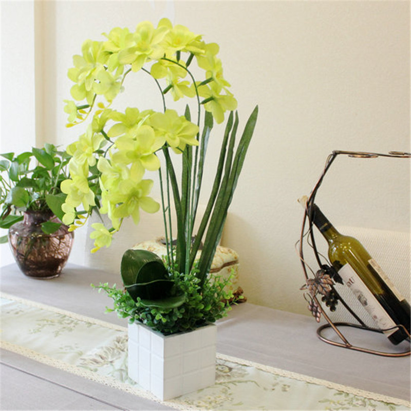New 1 Set Butterfly Orchid Flowervase Artificial Flower Plant Rhaliexpress: Bedroom Flowers With Vase At Home Improvement Advice