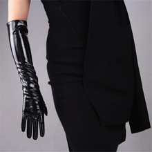50cm Long Sectiof Patent Leather Gloves Emulation Sheepskin Bright PU Black Womens WPU42-50