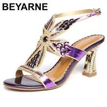 Beyarne sandalias de piel auténtica para mujer, zapatos de tacón alto con diamantes de imitación para verano, zapatos de boda, sandalias sexys con punta abierta de cristal