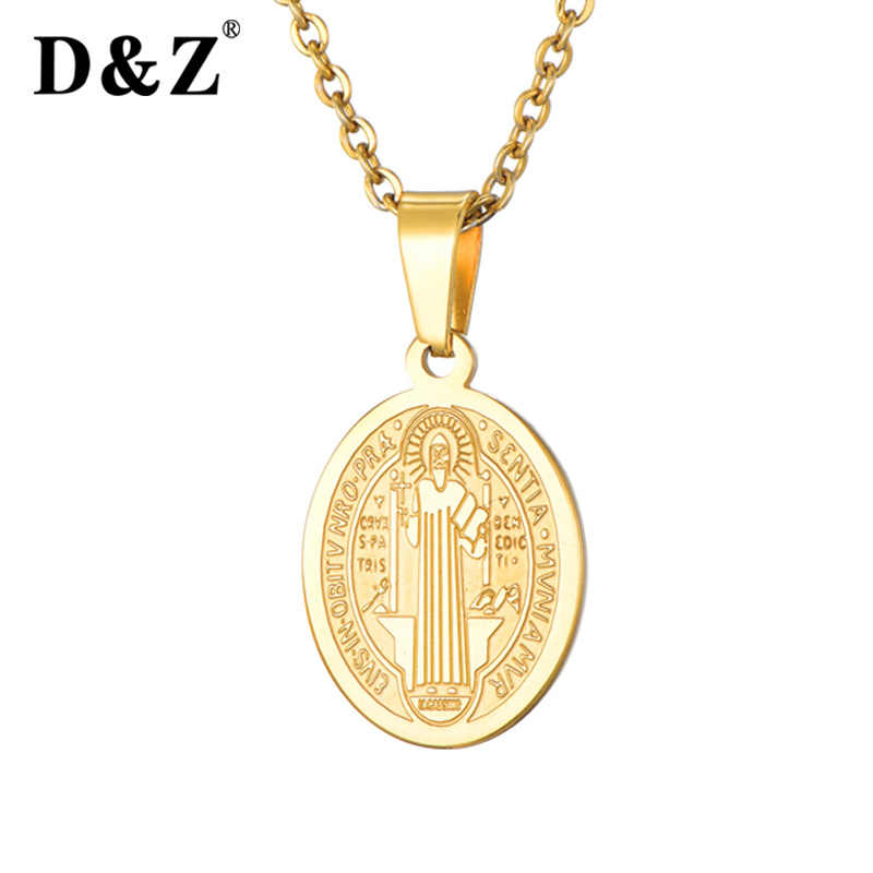 D&Z 2019 New San Benito Medal Pendant Necklace For Men Women Gold Color Saint Benedict Religious Jewelry