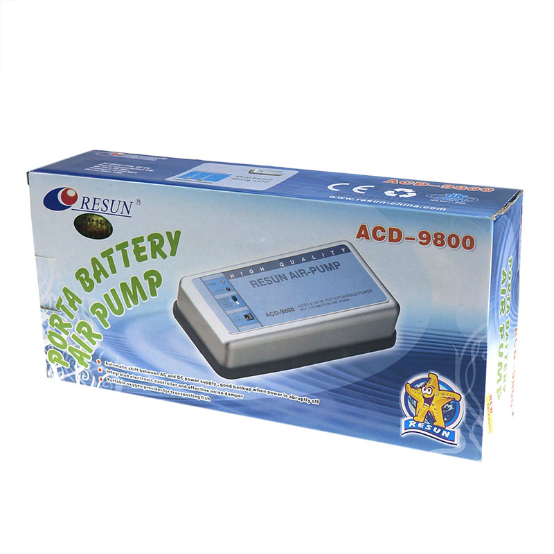 Ultra Silent Fish Tank Double Outlet Oxygen Pump Resun ACD-9800 AC DC Portable Battery Aquarium Air Pump