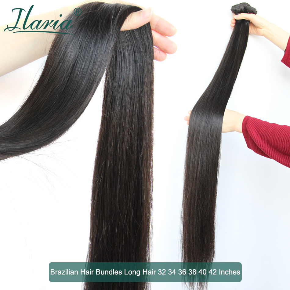 Ilaria 30 32 34 36 38 40 42 Inches Brazilian Hair Weaves Bundles 100% Human Hair Weft Natural Color Remy Hair Extension