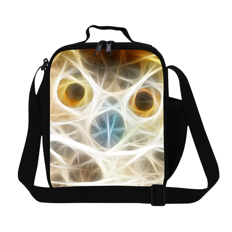 Fashion Owl Artwork Pattern Kids Lunch Box Childrens Animal Lunch Bags Thermal Food Bag Single Shoulder Bag Bolsa Termica