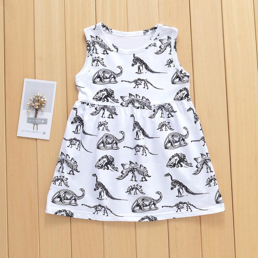 Muqgew Cartoon Dinosaur Print Dress Baby Girls Striped Short Sleeve O-neck Clothes Dresses Beach Party Sundress Dress 2018 100% High Quality Materials Dresses