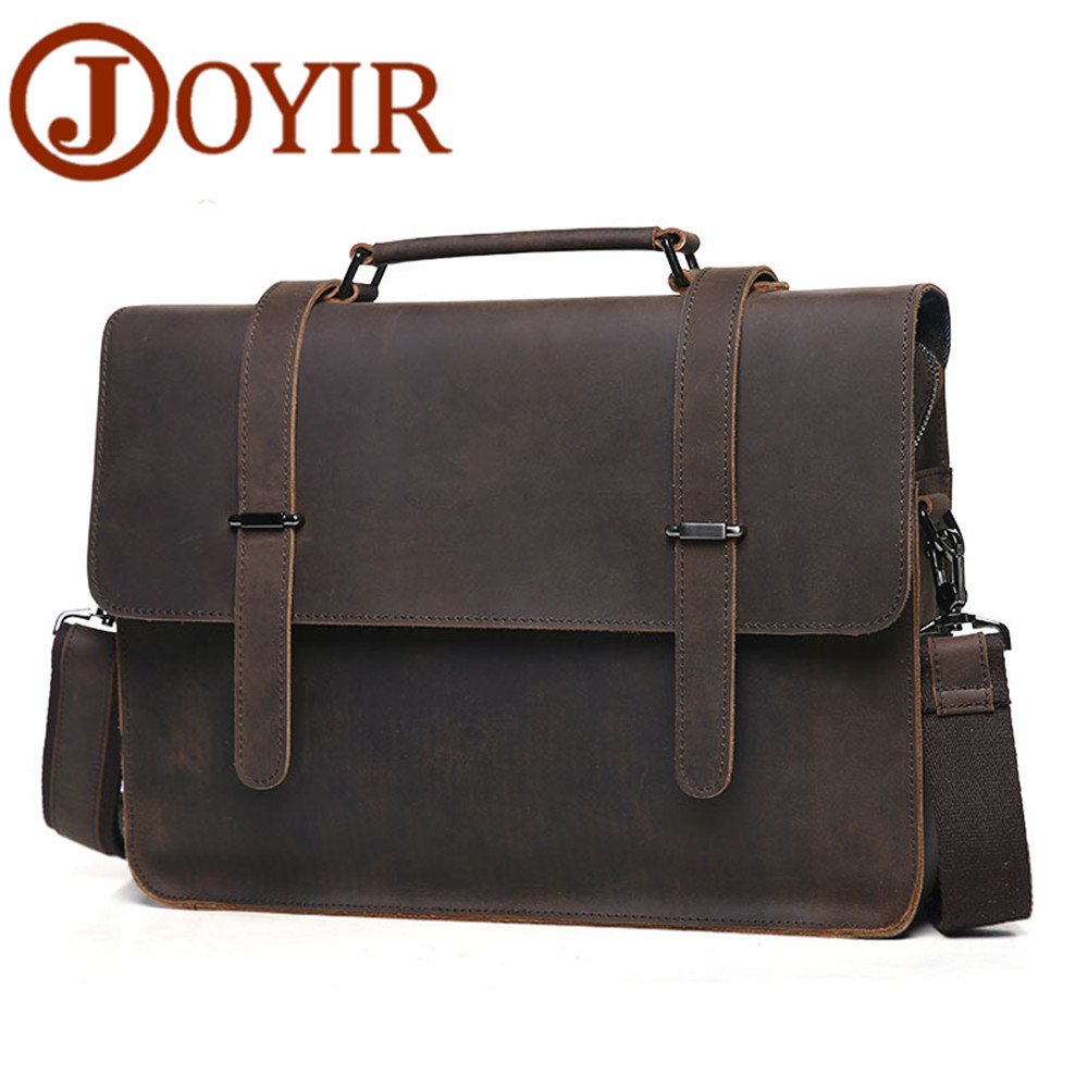 JOYIR Men Briefcase Real Leather Handbag Crazy Horse Genuine Leather Male Business Retro Messenger Shoulder Bag For Men Mandbag joyir genuine leather men briefcase bag handbag male office bags for men crazy horse leather laptop bag briefcase messenger bag
